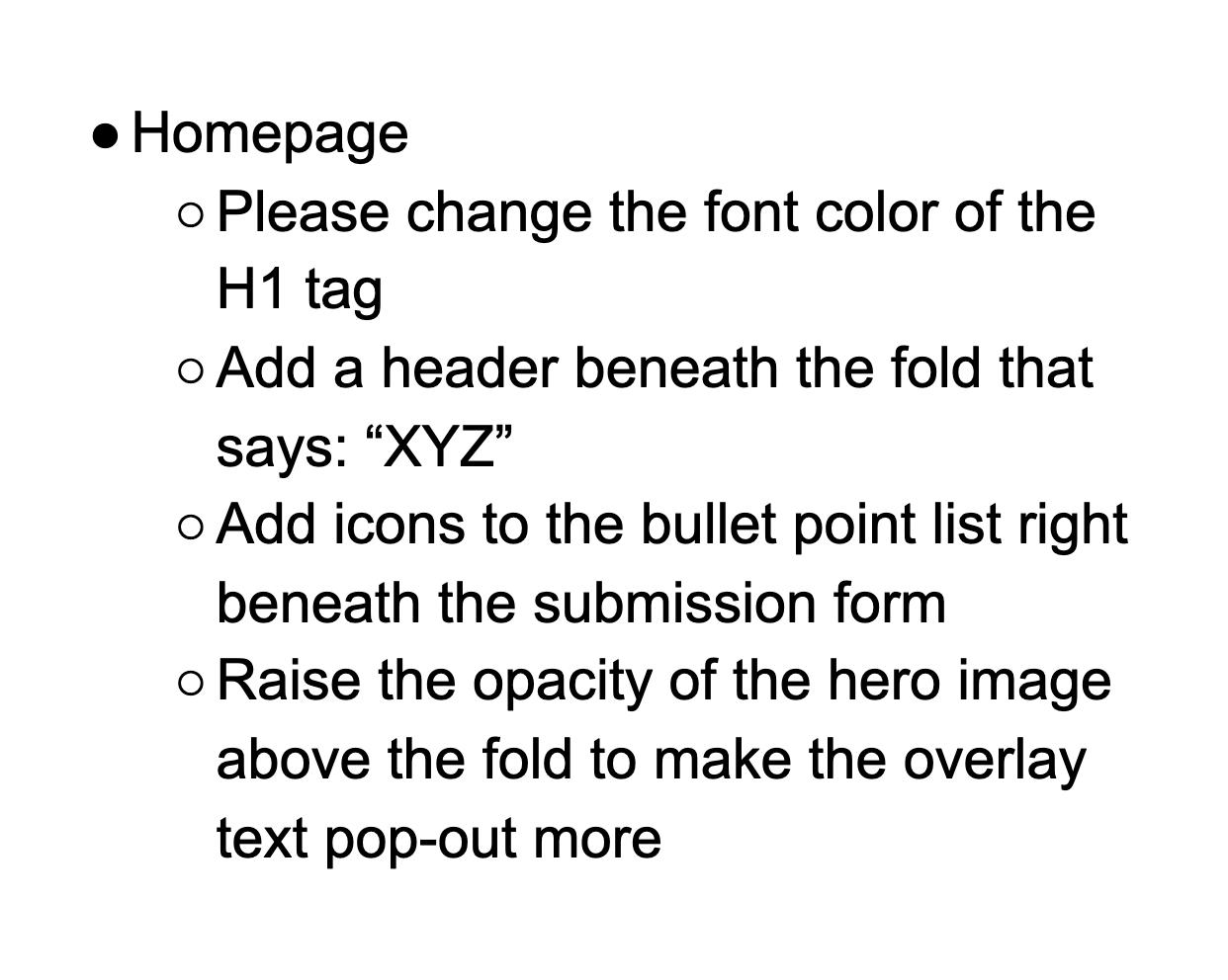 bullet point feedback